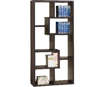 Contemporary Asymmetrical Cube Bookcase in Cappuccino Finish