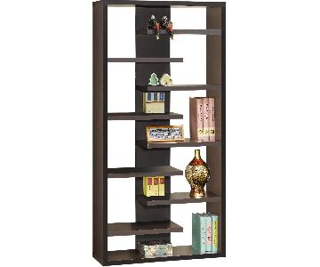 Contemporary Bookcase w/ Asymmetrical Shelves in Cappuccino Finish