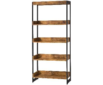 Industrial Style Bookcase w/ 4 Open Shelves in Antique Nutme