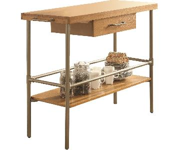 Kitchen Island w/ Solid Bamboo Top,Tower Bar & Metal Legs