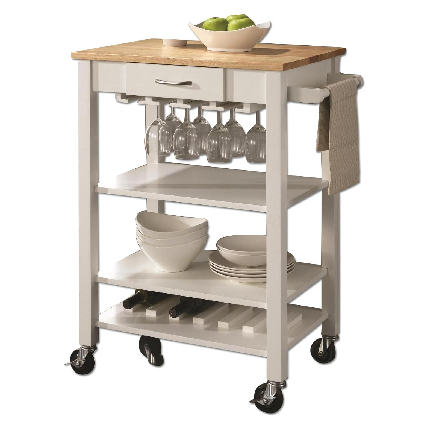 Natural Kitchen Cart With Butcher Block Top : White/Natural Kitchen Cart w/ Butcher Block Top - AptDeco