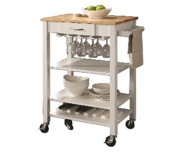 White/Natural Kitchen Cart w/ Butcher Block Top