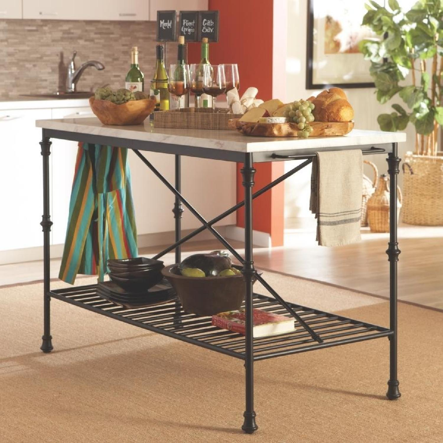 French Bistro Style Counter Height Kitchen Island-0