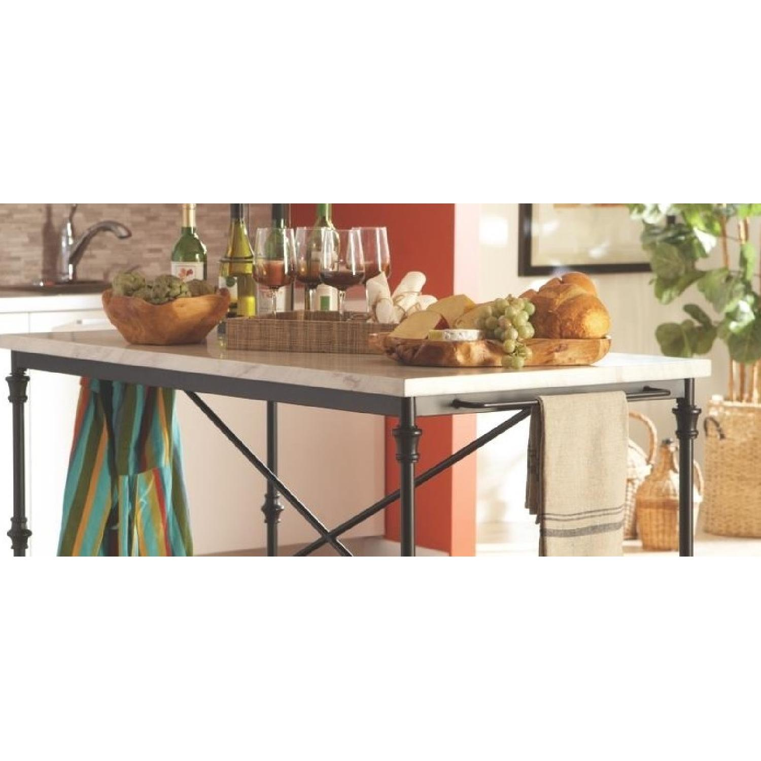 French Bistro Style Counter Height Kitchen Island - AptDeco