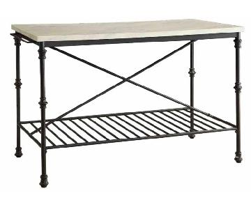 French Bistro Style Counter Height Kitchen Island