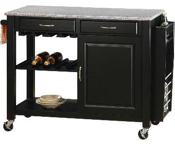 Black Kitchen Island w/ Granite Top, 2 Drawers, Cabinet & Lockable Wheels