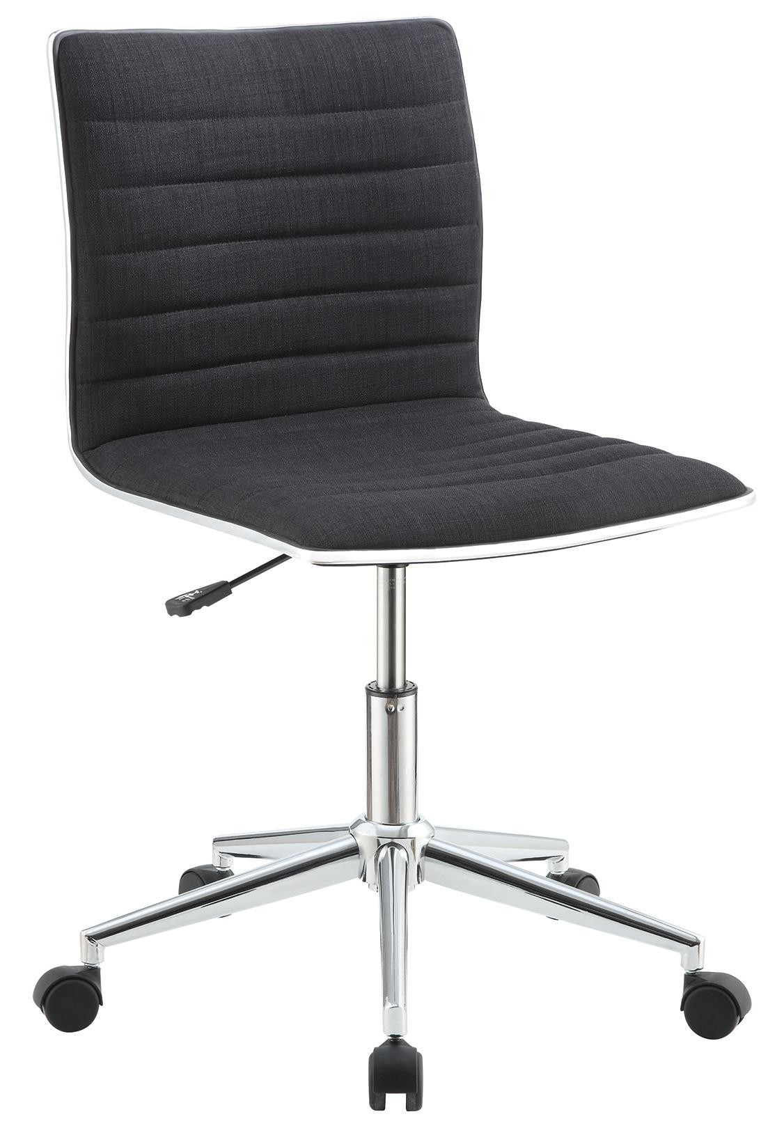 Chrome Base Office Chair w/ Black Fabric Seat & Back