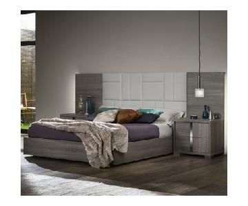 Tivoli Gaia Queen Size Bed in Oak Veneer & Leather