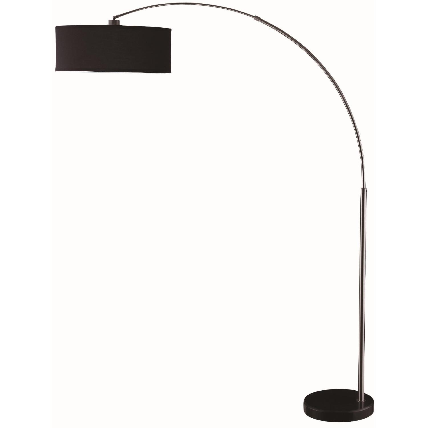 Contemporary Style Floor Lamp W Black Pendent Shade