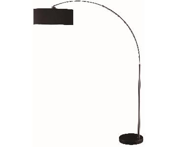 Contemporary Style Floor Lamp w/ Black Pendent Shade & Chrom