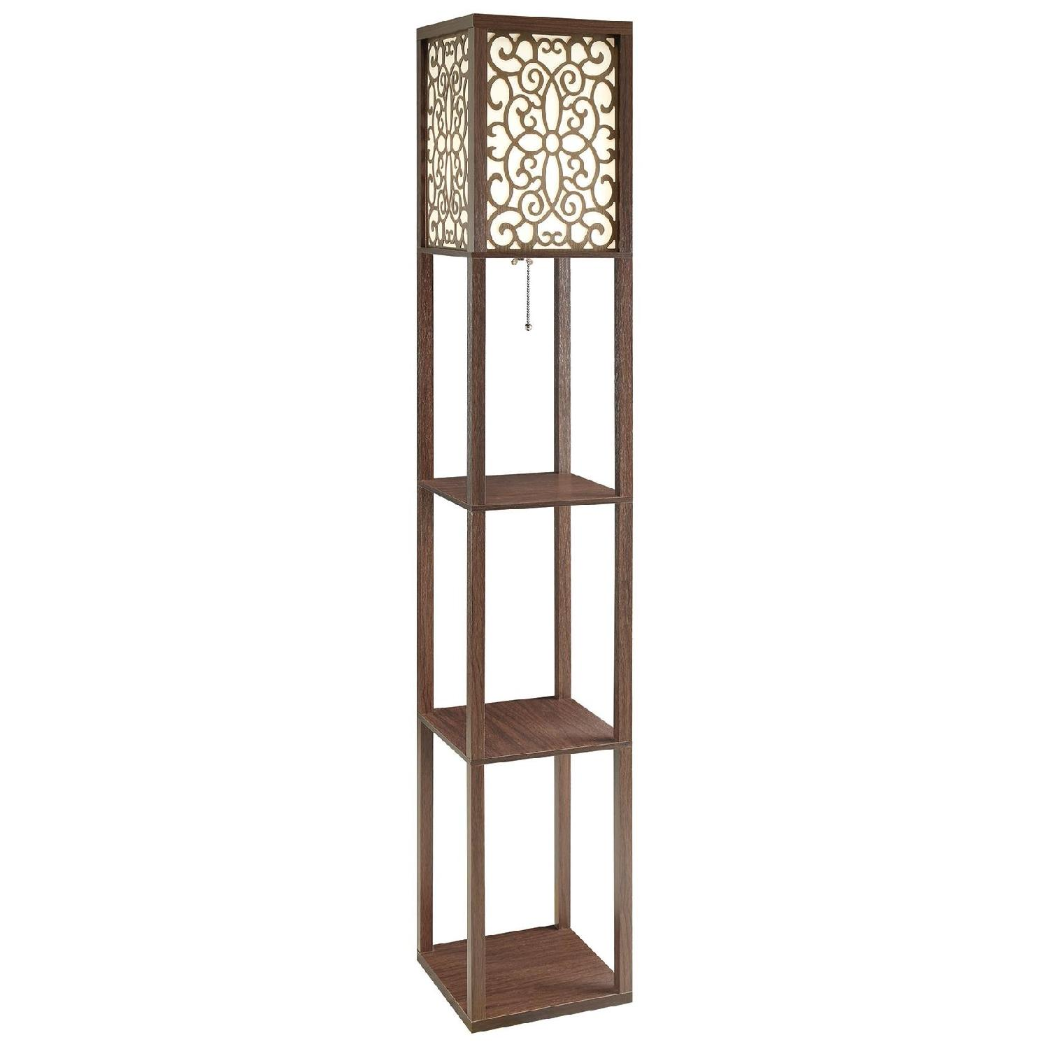 Floor Lamp w/ Flower Pattern On Shade & Three-Tiered Shelves