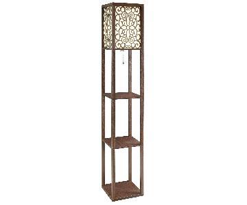 Floor Lamp w/ Flower Pattern On Shade & Three-Tiered Shelves