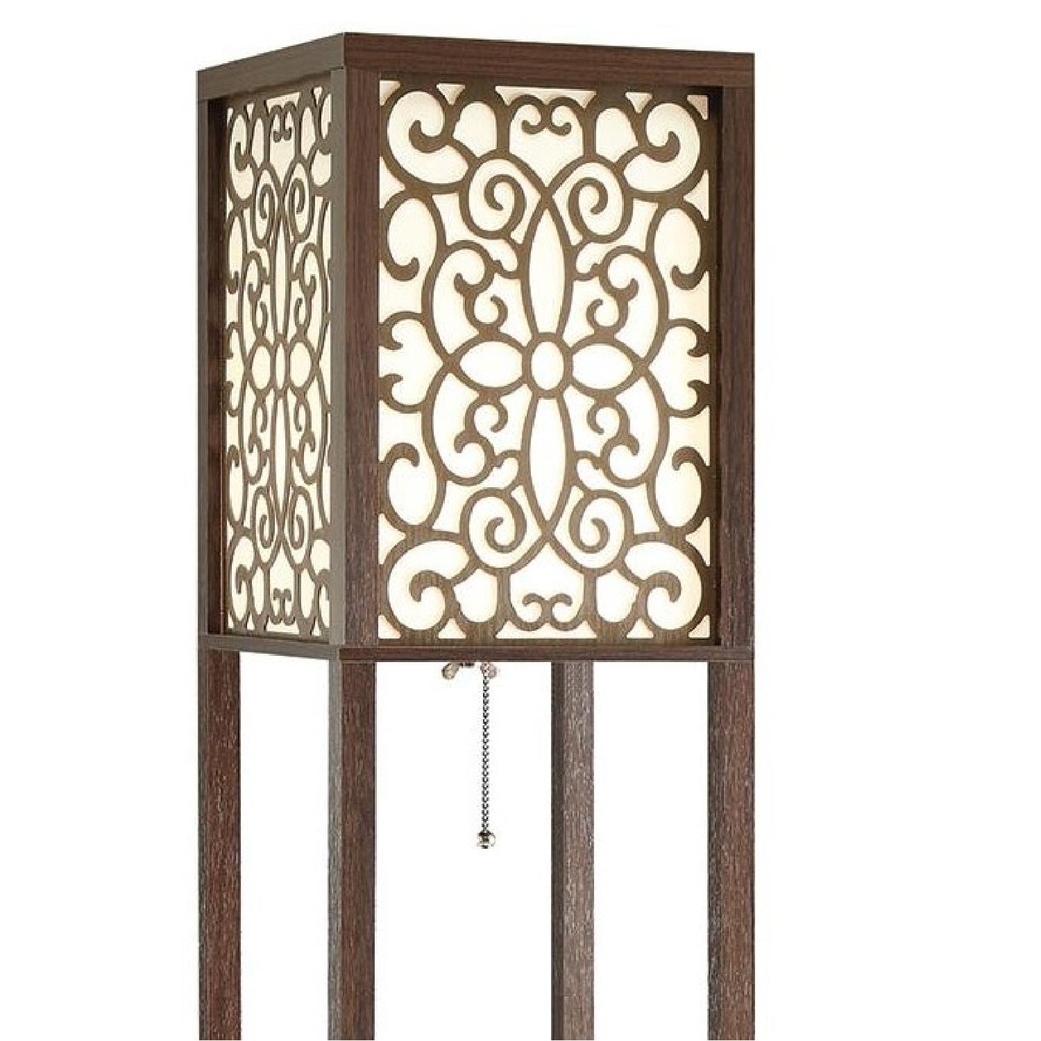 Floor Lamp w/ Flower Pattern On Shade & Three-Tiered Shelves - image-1