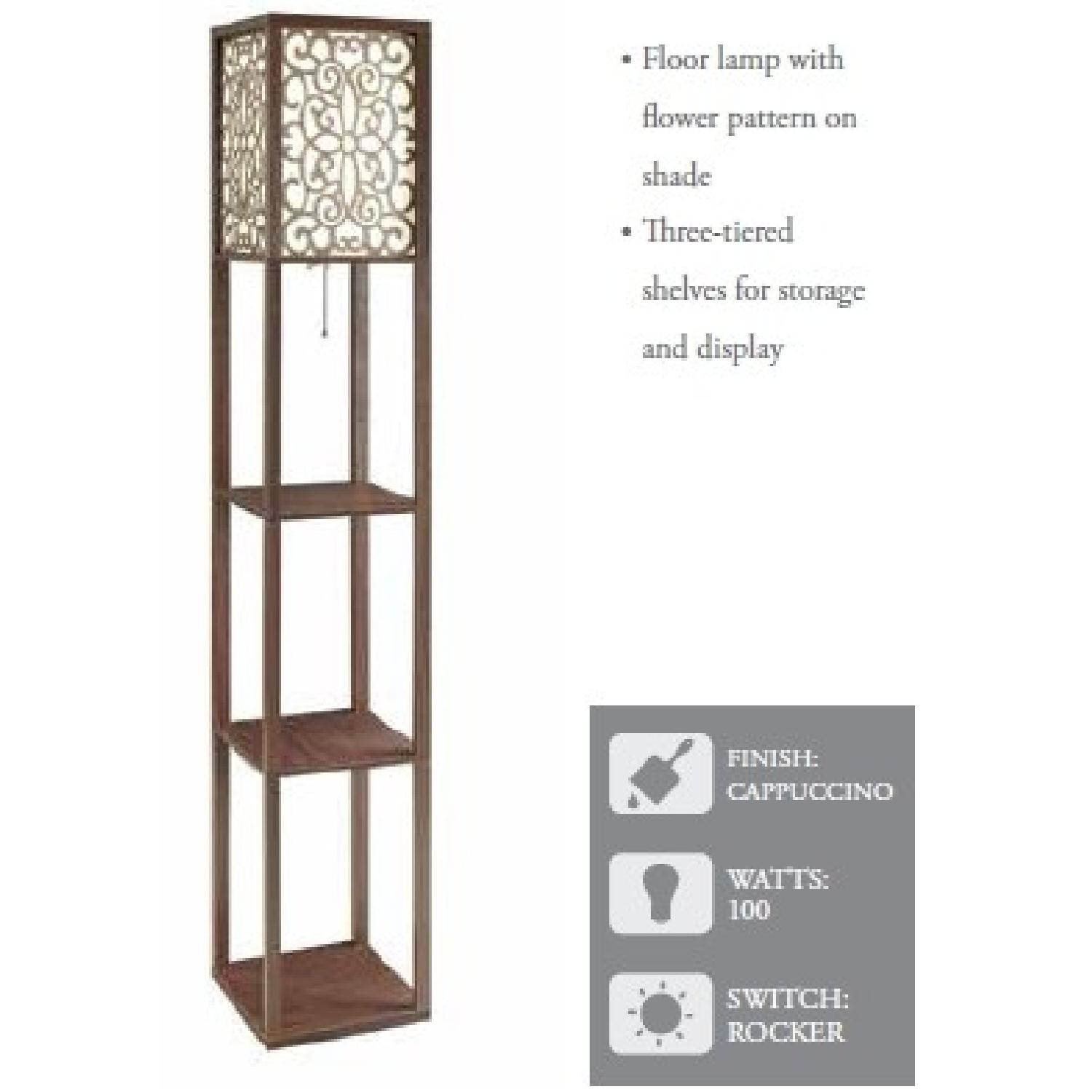 Floor Lamp w/ Flower Pattern On Shade & Three-Tiered Shelves - image-2