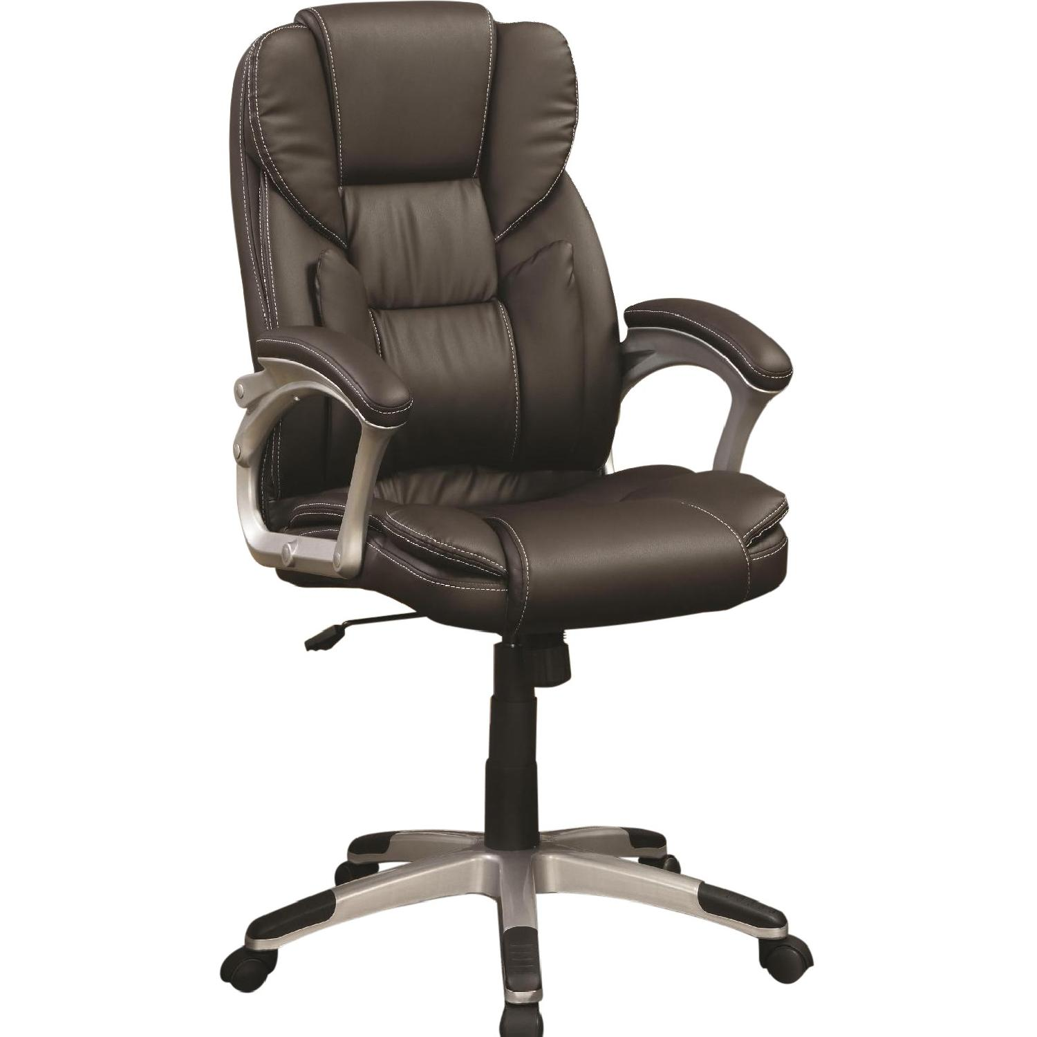 Modern Office Chair w/ Lumbar Support & a Bowtie Shaped Back Pillow in Dark Brown Faux Leather