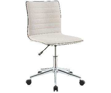 Chrome Base Office Chair w/ White Fabric Seat & Back