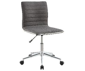 Chrome Base Office Chair w/ Grey Fabric Seat & Back