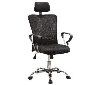 Modern Desk Chair w/ Mesh Back & Headrest/Armrest in Chrome