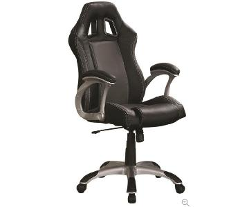Modern Style Office Chair w/ Lumbar Support, Head/Arm Rests & Metal Base