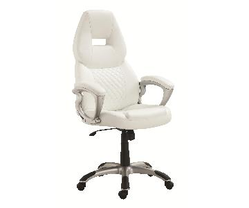 Modern High Back Office Chair w/ Armrests, Thick Cushions & Upholstered in White Faux Leather