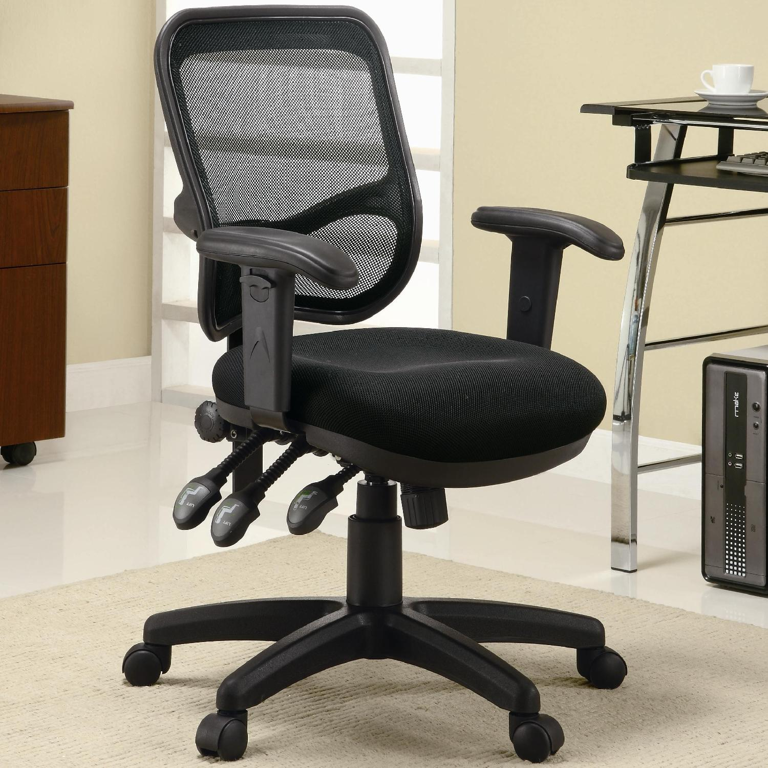 Contemporary Adjustable Ergonomic Seat Office Chair w/ Mesh Back-0