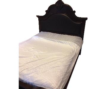 Queen Bed Frame w/ Upholstered Panels & Shell Carving