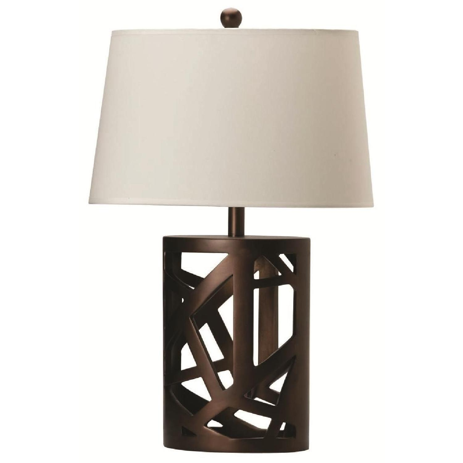 Modern Table Lamp w/ White Tapered Drum Shade & Wood Cut-Out Base - image-1