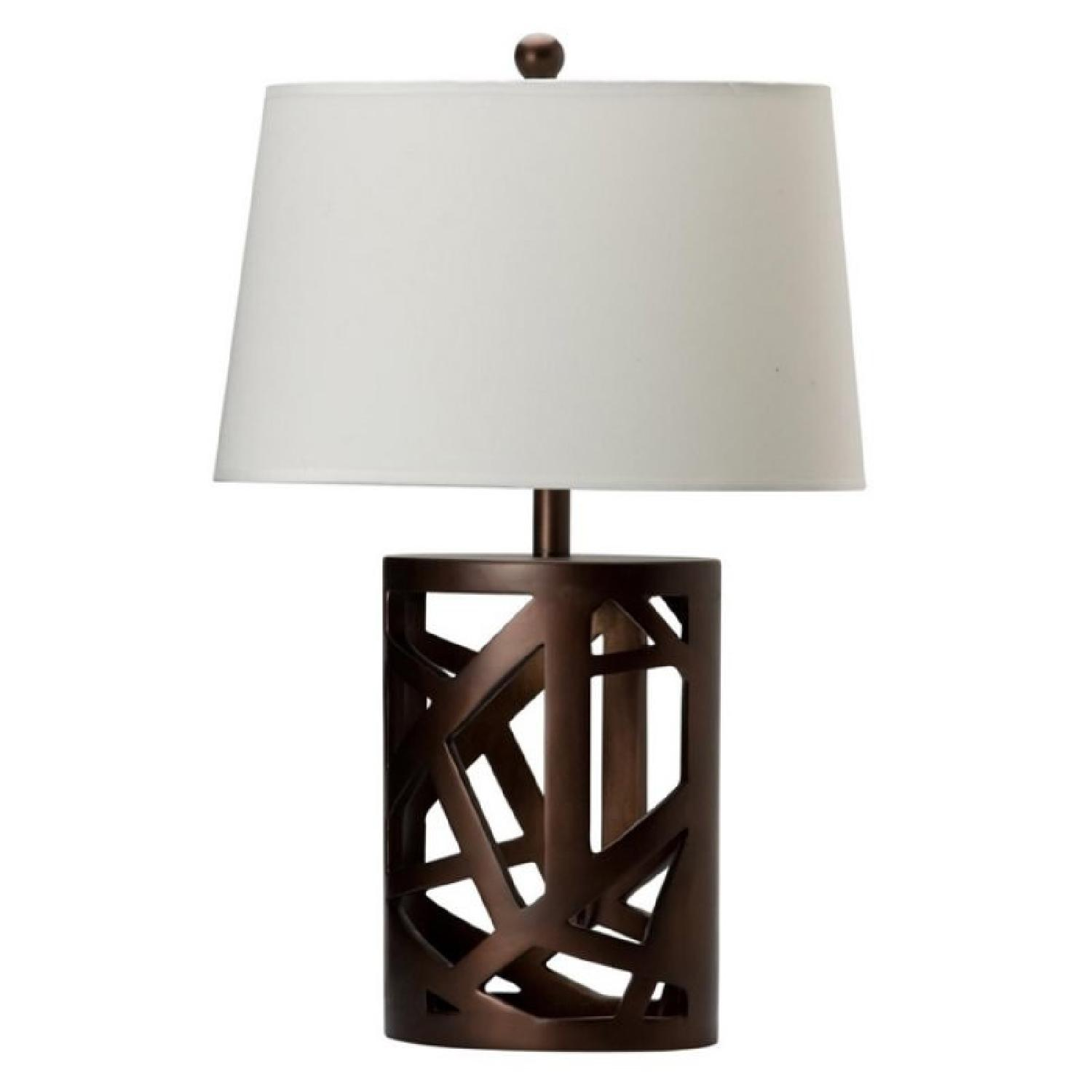 Modern Table Lamp w/ White Tapered Drum Shade & Wood Cut-Out Base - image-0