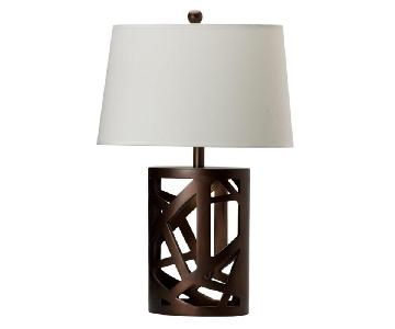 Modern Table Lamp w/ White Tapered Drum Shade & Wood Cut-Out Base