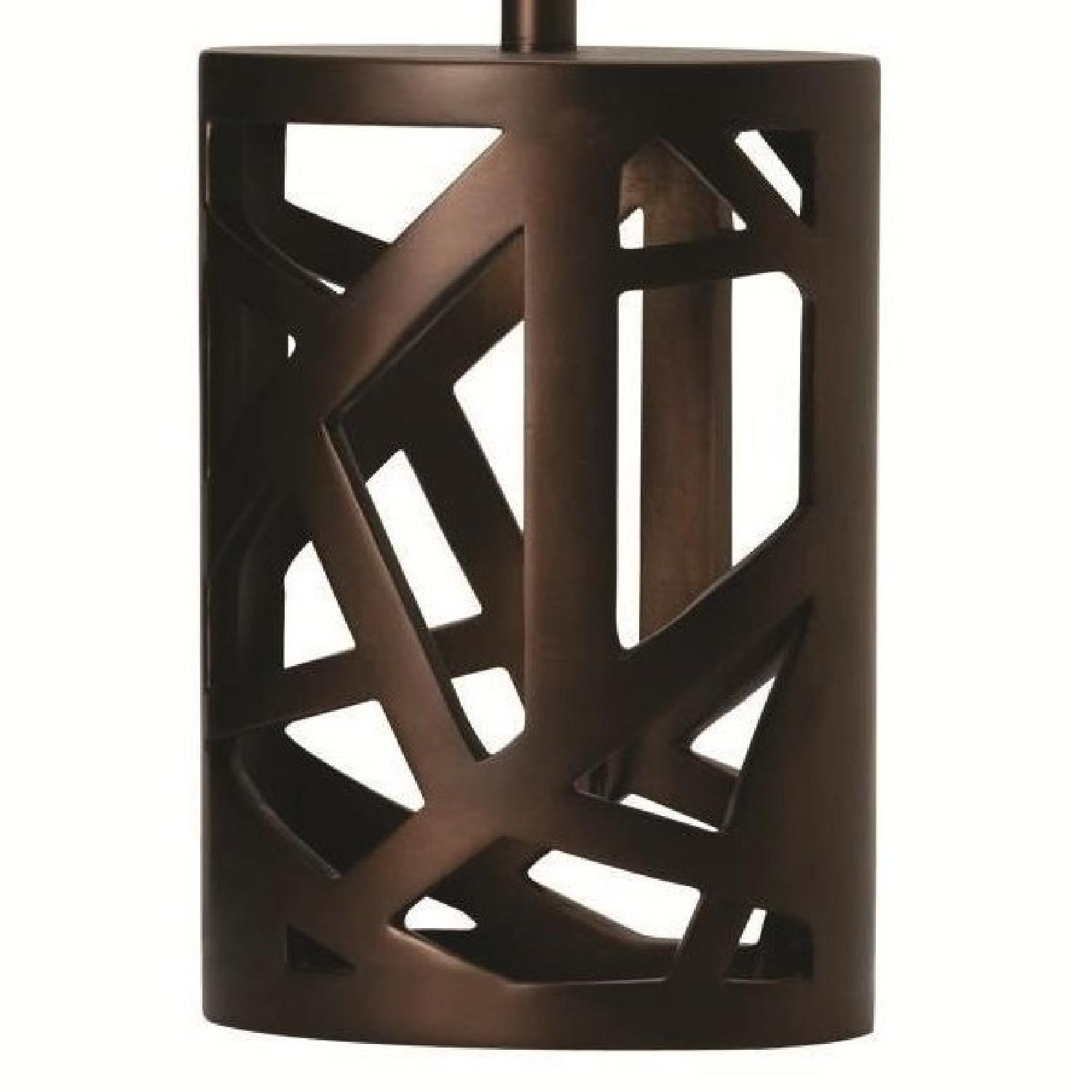 Modern Table Lamp w/ White Tapered Drum Shade & Wood Cut-Out Base - image-2