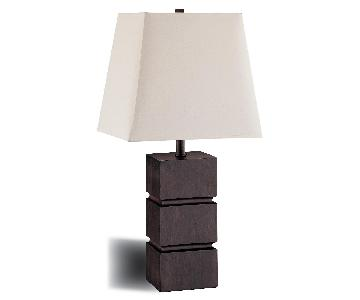 Contemporary Lamps w/ White Shades & Wood Base in Cappuccino