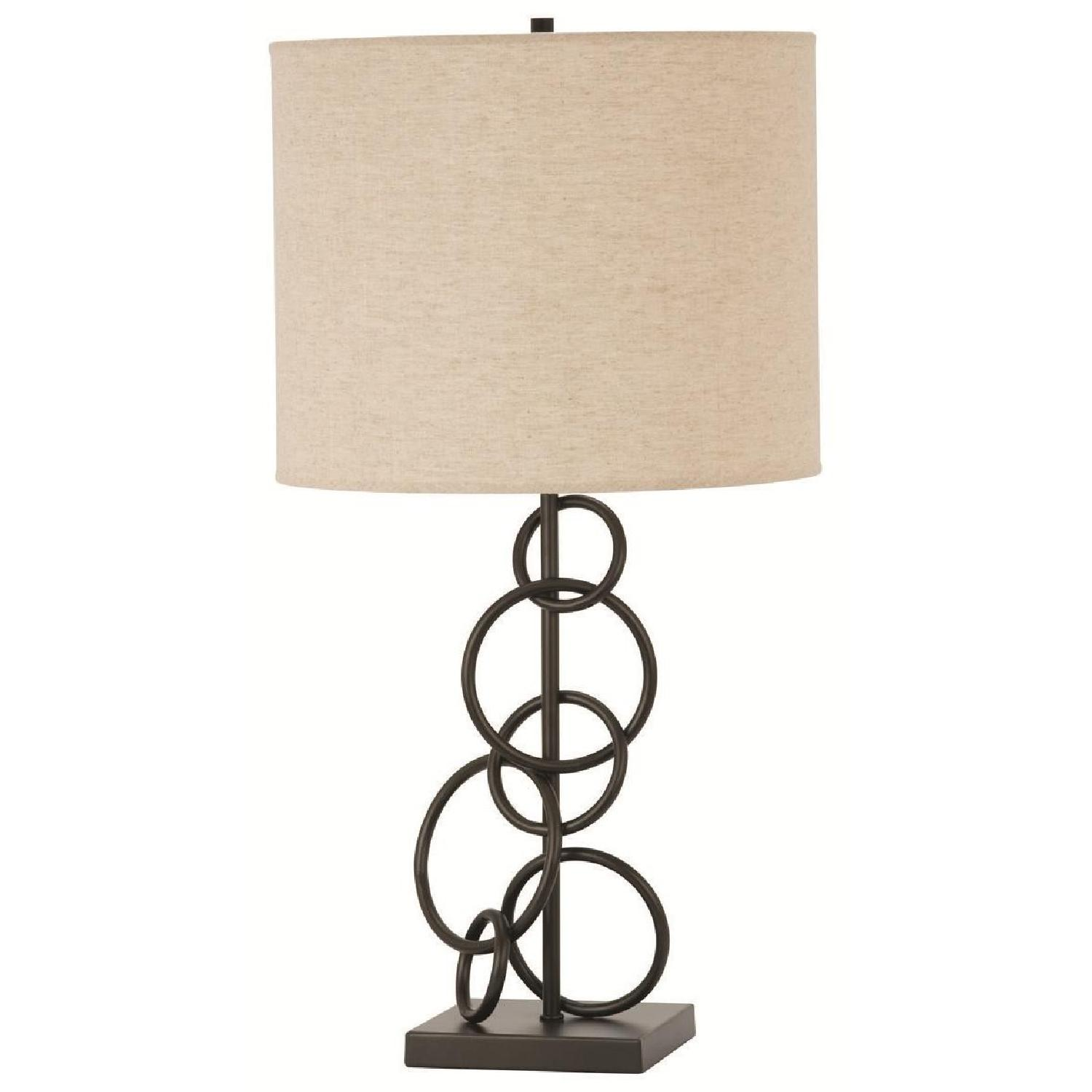 Table Lamp w/ Beige Linen Drum Shade & Interlocking Rings Design Vintage Bronze Finish Base