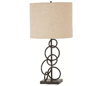 Table Lamp w/ Beige Linen Drum Shade & Interlocking Rings Design Vintage Bronze Finish Base