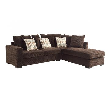 Reversible Chaise Sectional w/ Pocket Coil Seating & Dark Brown Fabric Upholstry