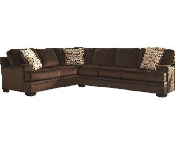 Brown Textured Velvet Fabric Sectional w/ Oversized Padded Foam Seat Cushions