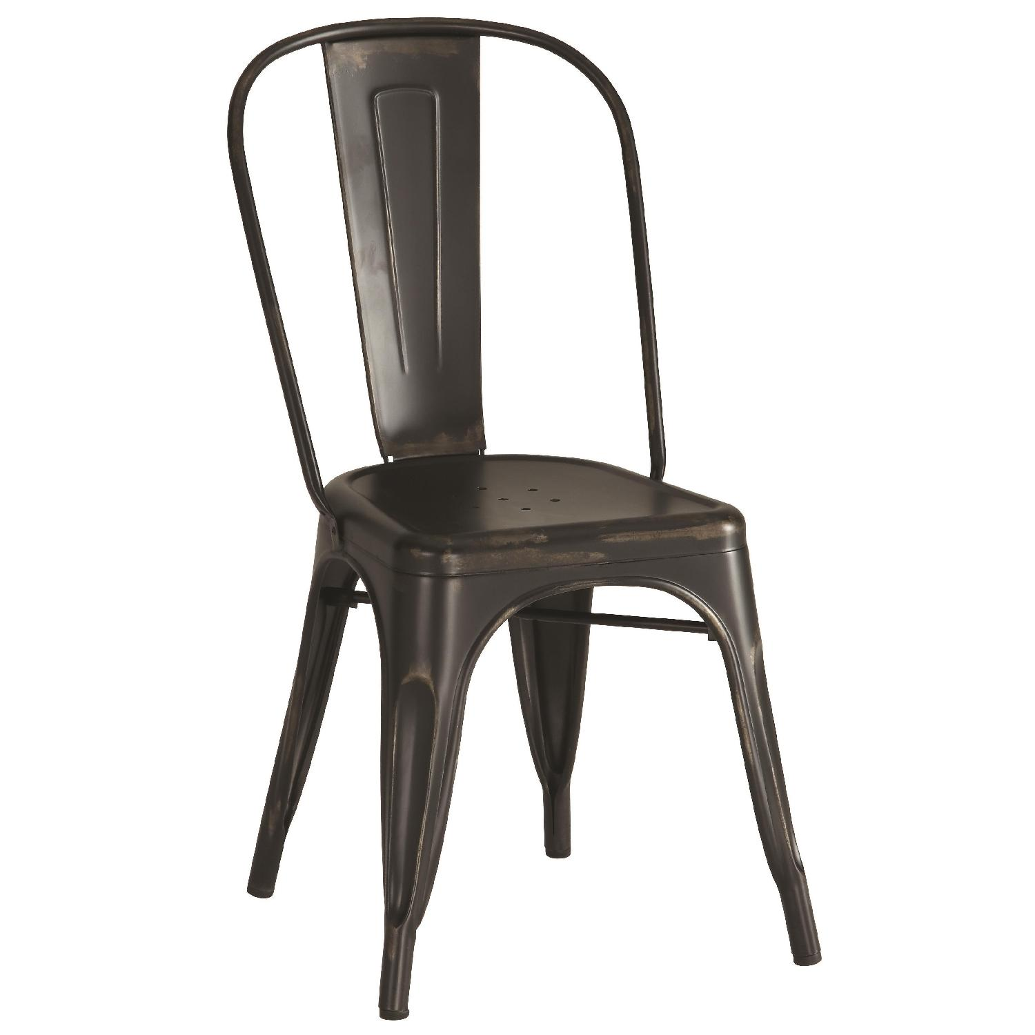 Rustic Galvanized Metal Dining Chairs in Antique Black Finish