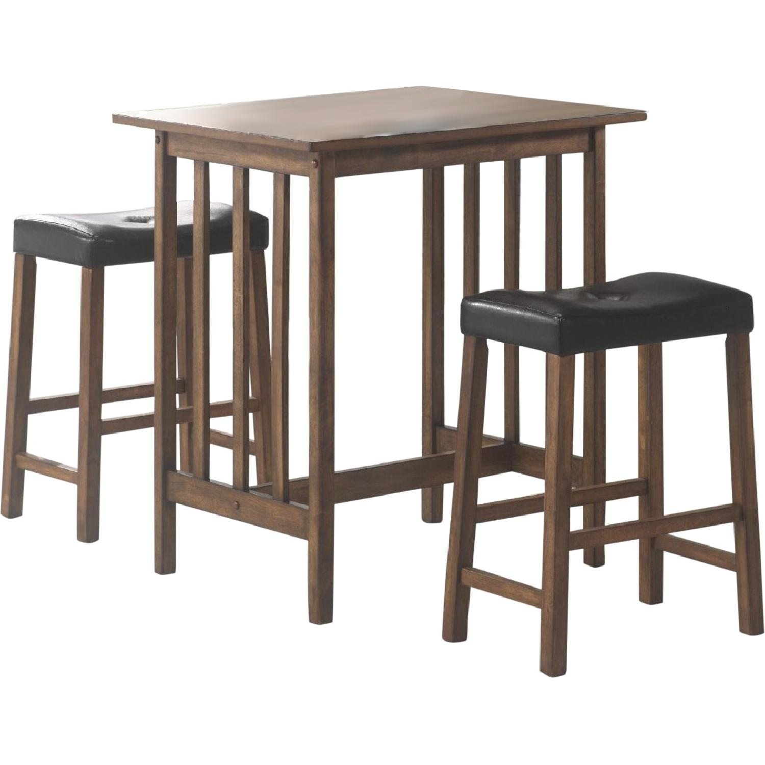 3-Piece Solid Wood Counter Height Dinette Set