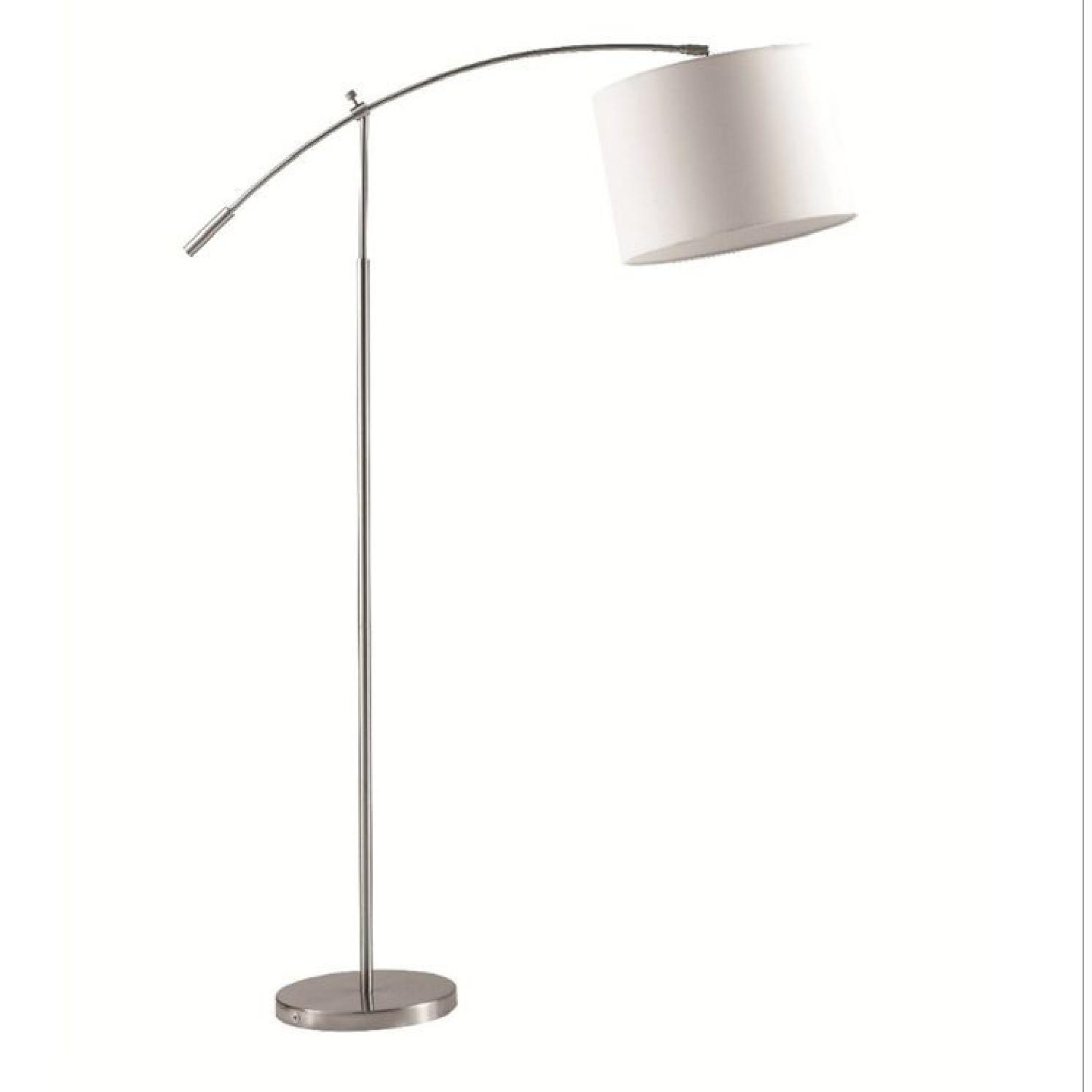 Modern Adjustable Arch Lamp w/ Drum Shade & Chrome Finish Steel Base