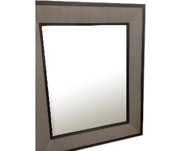 Grey Pewter Trimmed Mirror w/ Black Trim