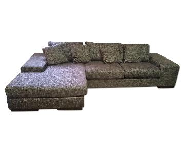 Fabric Upholstery Contemporary Reversible Chaise Sectional Sofa