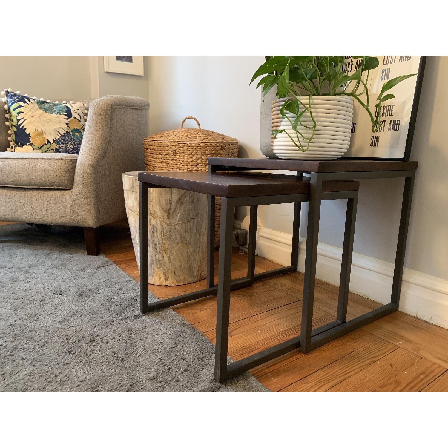 West Elm Box Frame Nesting Tables w/ Wood Top - image-3