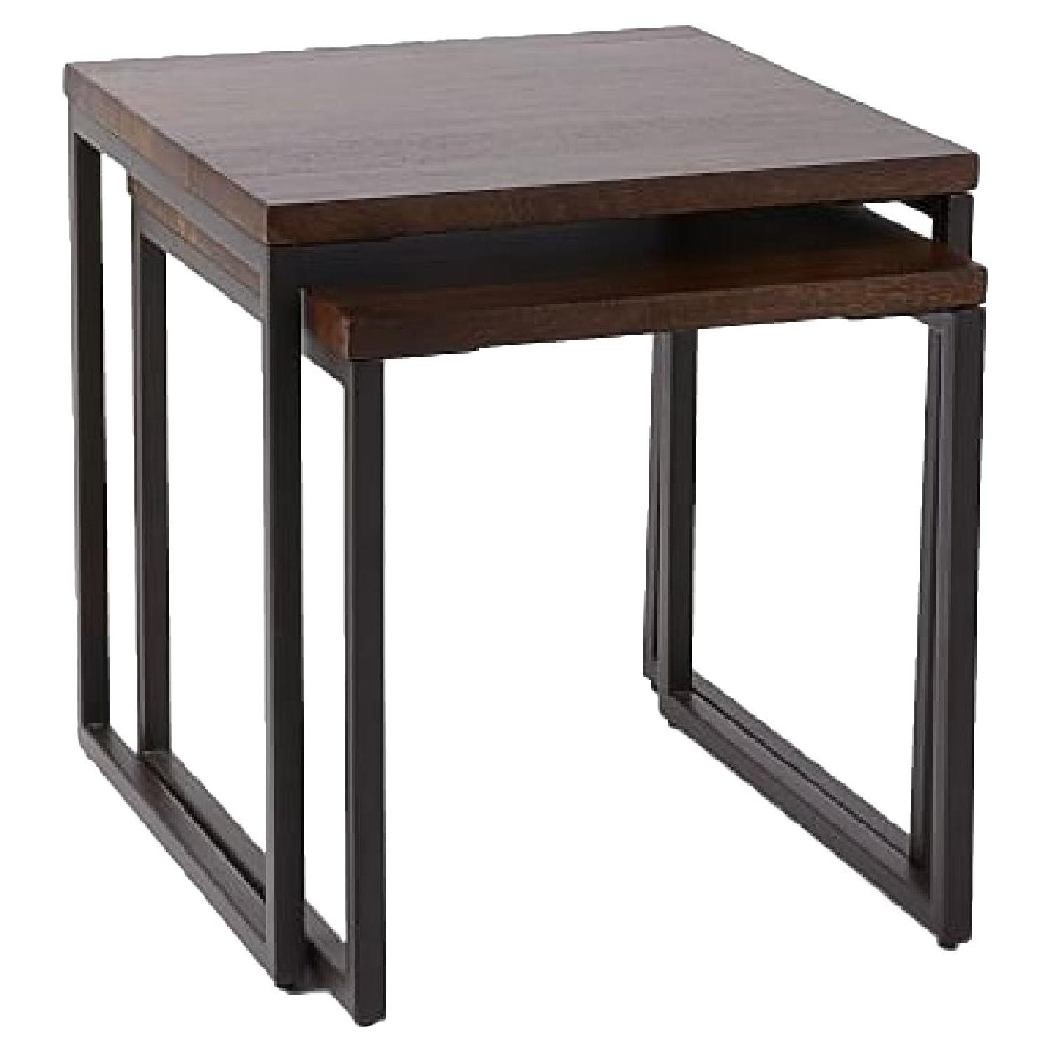 West Elm Box Frame Nesting Tables w/ Wood Top - image-0