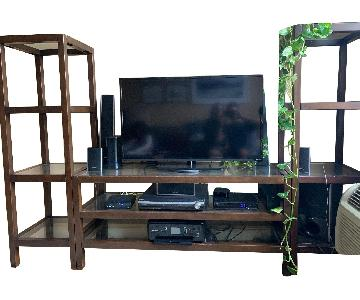 Crate & Barrel Media Console w/ Tall Narrow Bookcases