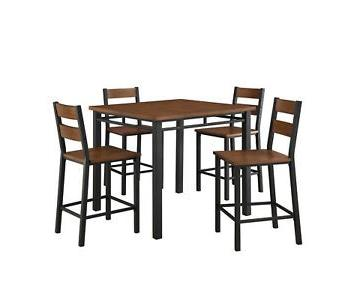 BH&G Mercer 5-Piece Counter Height Dining Set in Vintage Oak