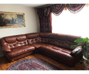 Italian Leather 3-Piece Sectional Sofa