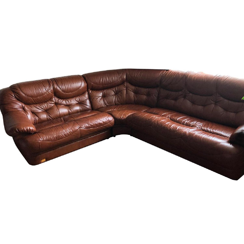 Italian Leather 3-Piece Sectional Sofa - AptDeco