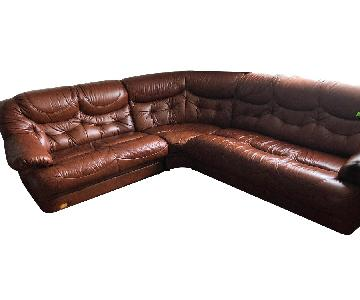 Italian Leather 3-Piece Sectional Sofa