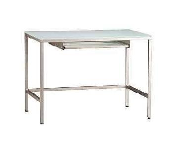 CB2 Brushed Metal & Frosted Glass Modern Desk