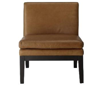 West Elm Leather Slipper Chair in Cognac