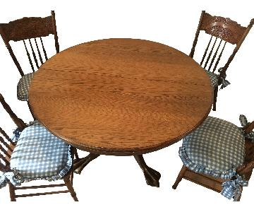 Solid Oak Table w/ 4 Chairs